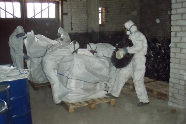 Packing of obsolete pesticides in Petrozavodsk, Russia. Photograph: Nina Mäntylä/Ekokem Oy