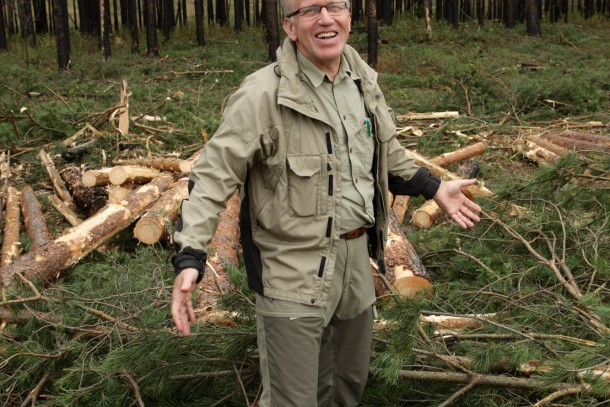 Forester Urban Larsson from Rindi Energi is surrounded by logging residues. This is bio fuel!