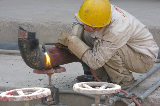 Welding work at a cement factory in eastern China. Photograph: Maija Saijonmaa