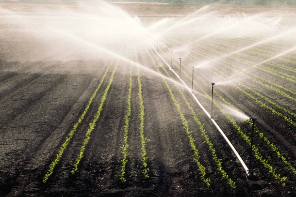 Irrigation of farmland. Droughts are expected to increase in the Southern hemisphere as a result of climate change.