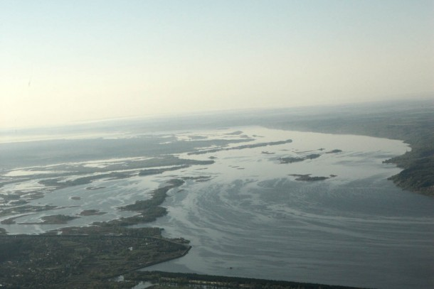 Aerial view of a Ukrainian river delta. The NEFCO-financed paint factory will reduce harmful discharges to waterways.