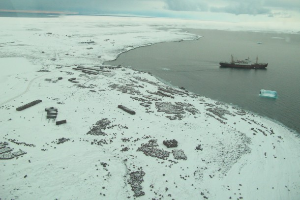 The polar research vessle Mikhail Somov at Franz Josef Land. Photo: Russian Polar Foundation.