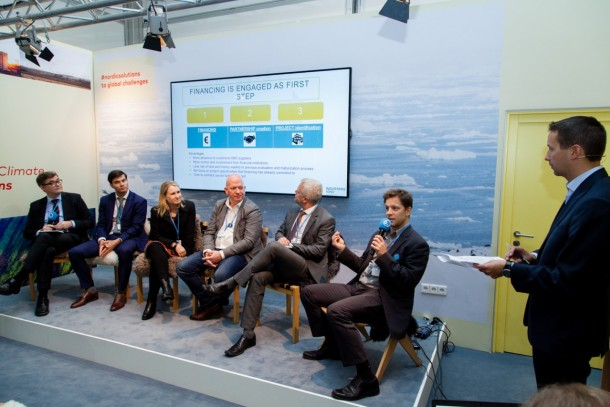 The participants in the discussion. From left Magnus Rystedt, NEFCO; Sarunas Stepukonis, BaltCap; Karoliina Auvinen, Aalto University; Shawn Brown, Ignitia AB; Tom Erichsen, Differ AS; Peter Keller-Larsen, CLEAN; and moderator Janne Peljo, Sitra. Photo: NEFCO/Joel Sheakoski