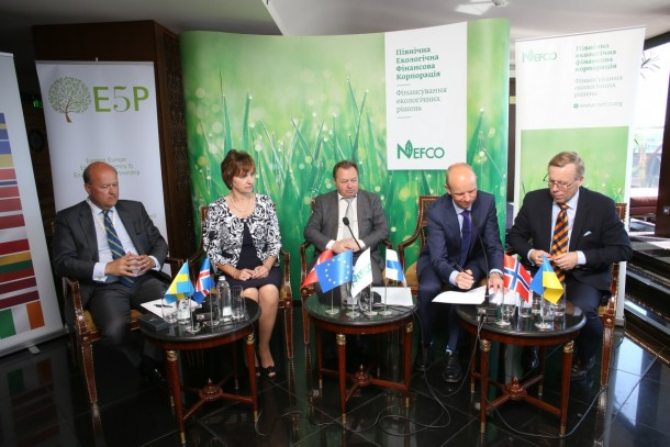Signing of the Lutsk agreement in Kiev on 23 May. From left: Fund Manager of E5P Anders Lund, Director of Finance and Budget Department in Lutsk Liliya Elova, Secretary of Lutsk City Council Grygoriy Pustovit, Senior Investment Manager Amund Beitnes, NEFCO and Executive Vice President Trond Moe, NEFCO. Photo: Andrey Umanets