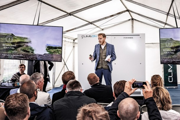 Baseload Capital CEO Alexander Helling speaking at the inauguration event of Climeon Heat Power modules in Iceland, photo by Baseload Capital